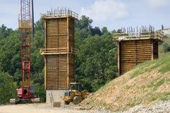 Brücke, Straßen-Bauarbeit Stockfotos