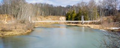 Brücke, Suspendierung, manistee Flussspur Stockfoto