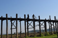 Brücke U Bein in Amarapura, Mandalay, Myanmar Lizenzfreies Stockbild
