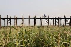 Brücke u-Bein in Mandalay stockbilder