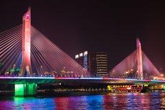 Brücke und Boot auf Pearl River Stockfotografie