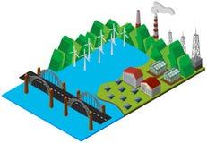 Brücke und Kraftwerk im Design 3D Lizenzfreie Stockbilder