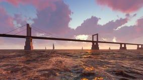 Brücke und rasender Ozean mit Booten stock footage