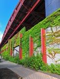 Brücke und Rebe deckten Wand entlang einer Promenade ab Lizenzfreie Stockbilder