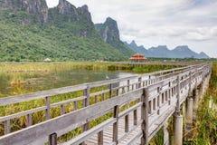 Brücke und Schutz in einem See Stockfotos