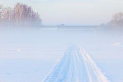 Brücke und Winter nebeln über dem gefrorenen Fluss ein Lizenzfreie Stockfotografie