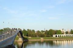 Brücke in Velikiy Novgorod Stockbild