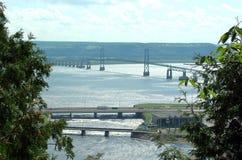 Brücke zu den Ile d'Orleans Stockfoto