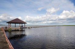 Brücke zum See Stockfotografie