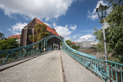 Brücke zur Kathedraleninsel in Breslau Stockfotos