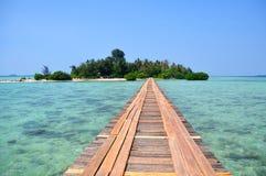 Brücke zur tropischen Insel Stockfoto