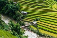Brücke zwischen terassenförmig angelegten Reis filelds Stockfotos