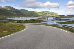 Brücken bei Fredvang in Lofoten Norwegen Stockbilder