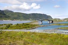 Brücken bei Fredvang in Lofoten Norwegen Stockfotografie