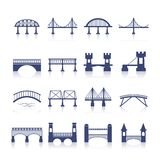 Brücken-Ikonen eingestellt Stockbilder