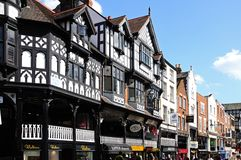Brücken-Straßen-Shops, Chester Lizenzfreie Stockfotos