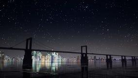 Brücken- und Sternhimmel nachts stock video footage