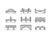 Brückenlinie gesetzter Vektor der Ikone Stockfotos