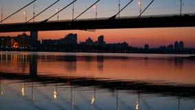 Brückensonnenuntergang-Ansichtfluß stock video