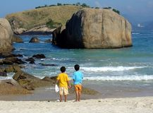 Brüder in der Betrachtung am Strand stockfotos
