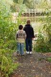 Brüder, die heraus über einem Teich im Herbst schauen Stockbild