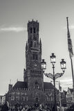 BRÜGGE, BELGIEN - 17. JANUAR 2016: Belfort-Turm in Brügge, touristische Mitte in Flandern-Stadt von Brügge und UNESCO-Welterbe Lizenzfreie Stockfotografie