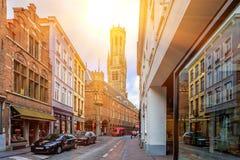 BRÜGGE, BELGIEN - 10. JUNI 2014: Ansicht von Straßen in Brügge Stockbild