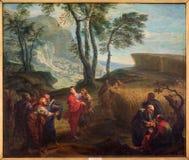 Brügge - der Apostel auf dem Kornfeld durch J B Garemyn (1712 - 1795) in Kirche St. Jacobs (Jakobskerk) Stockfotografie