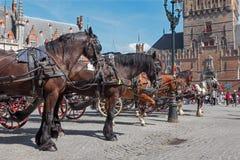 Brügge - der Wagen auf dem Packwagen Brügge Grote Markt und Belforts im Hintergrund Lizenzfreie Stockbilder