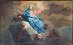 Brügge - die Annahme von Jungfrau- Mariafarbe durch J Garemijn (1750) in Heiliges Walburga-Kirche Stockfotografie