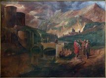 Brügge - Farbe der Szene Jesus und Brüder von Zebedee durch D Nolet (1694) in Kirche St. Jacobs (Jakobskerk) Lizenzfreie Stockbilder