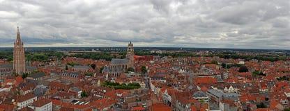 Brügge-Stadt-Panorama Stockbilder