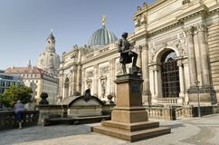 Brühlsche Terrasse. View of the Historic Center of the City of Dresden from Brühl's Terrace Stock Photos