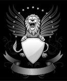 Brüllen Winged Löwe mit Schild Lizenzfreie Stockfotografie