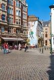 BRÜSSEL, BELGIEN - 5. APRIL 2008: Wandgraffiticharaktere von t Lizenzfreie Stockbilder