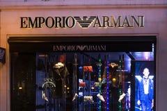 Brüssel, Brüssel/Belgien - 13 12 18: emporio armani Speicher unterzeichnen herein Brüssel Belgien lizenzfreie stockfotografie