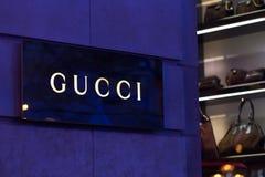 Brüssel, Brüssel/Belgien - 13 12 18: Gucci-Speicher unterzeichnen herein Brüssel Belgien stockbilder
