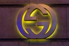 Brüssel, Brüssel/Belgien - 13 12 18: Gucci-Speicher unterzeichnen herein Brüssel Belgien lizenzfreie stockfotografie