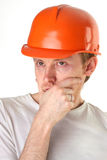 Brütender Architekteningenieur Stockfoto