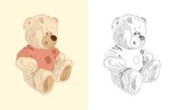 brąz rysująca ręki miś pluszowy zabawka Ilustracji