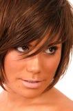 brązowa dziewczyno z niebieskimi włosami Zdjęcia Royalty Free