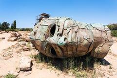 Brązowa głowa w dolinie świątynie w Sicily Zdjęcia Stock