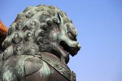 Brązowa opiekunu lwa statua w Niedozwolonym mieście, Pekin, Chiny Fotografia Stock