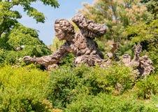 Brązowa rzeźba Carolus Linnaeus w Chicagowskim ogródzie botanicznym, usa Fotografia Stock