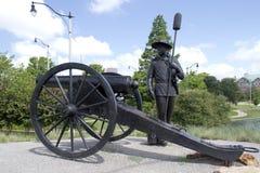 Brązowa rzeźba w Oklahoma mieście zdjęcia royalty free