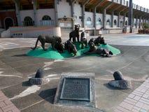 Brązowa rzeźba - wody pitnej źródło, «Siedem tygrysów Yao Luo « zdjęcie royalty free