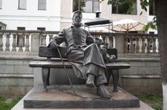 Brązowa statua A P Chekhov w Zvenigorod obraz royalty free