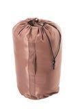 Brązowa sypialna torba odizolowywająca na białym tle Zdjęcie Stock
