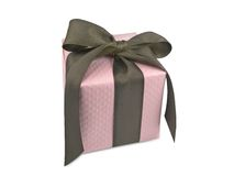 brązowe pudełko dar różowe wstążki zdjęcie royalty free