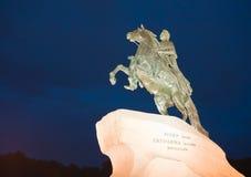 brązowego jeźdza pomnikowy Petersburg Russia święty Obrazy Royalty Free